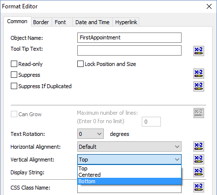 Format Editor showing Vertical Alignment option in Crystal Reports 2016