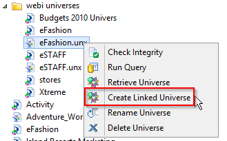 Select a published universe in IDT and then select Create Linked Universe